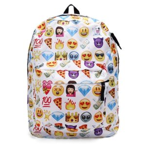 KING DO WAY Sac À Dos Loisir Emoji Cartable Scolaire College Backpack 32cmX13cmX42cm